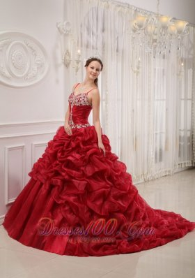 Popular Brand New Wine Red Quinceanera Dress Spaghetti Straps Court Train Organza Beading Ball Gown