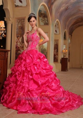 Popular Beautiful Hot Pink Quinceanera Dress Spaghetti Straps Organza Embroidery Ball Gown