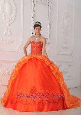 Popular New Orange Red Quinceanera Dress Sweetheart Taffeta Beading and Appliques Ball Gown
