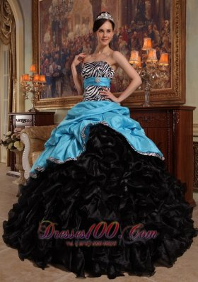 Popular New Aqua Blue and Black Quinceanera Dress Sweetheart Pick-ups Ball Gown Taffeta and Organza