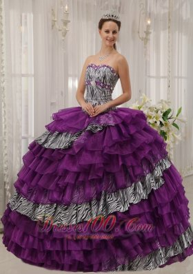 Popular Affordable Purple Quinceanera Dress Sweetheart Zebra and Organza Beading Ball Gown