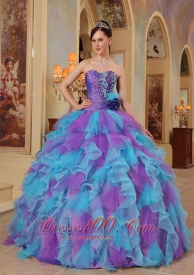 Popular The Most Popular Purple and Aqua Blue Quinceanera Dress Sweetheart Ruffles Organza Ball Gown