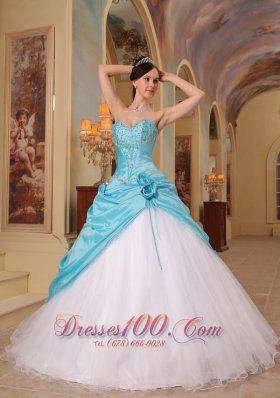Popular Discount Aqua Blue and White Sweet 16 Dress Sweetheart Beading Tulle and Taffeta A-Line / Princess