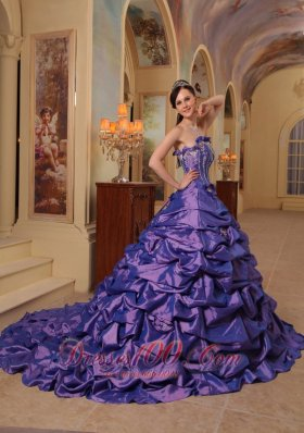 Popular Gorgeous Purple Quinceanera Dress Strapless Court Train Pick-ups Taffeta Ball Gown