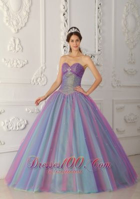 Popular Elegant Multi-color Quinceanera Dress Sweetheart Tulle Beading Ball Gown