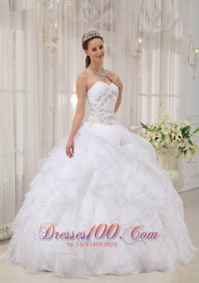 Popular White Ball Gown Sweetheart Floor-length Organza Appliques Quinceanera Dress