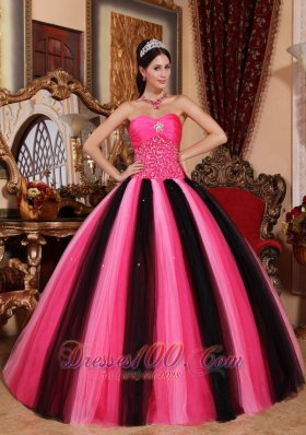 Popular Multi-colored Ball Gown Sweetheart Floor-length Tulle Beading Quinceanera Dress