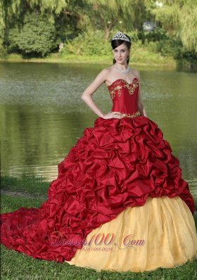 Popular Appliques and Pick-ups Wine Red Brush Train Exquisite Style For 2013 Quinceanera Dress