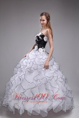 Popular The Super Hot White Sweet 16 Dress Sweetheart Orangza Appliques and Ruffles Ball Gown