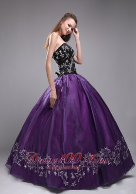 Popular Exclusive Eggplant Purple Quinceanera Dress Sweetheart Organza Embroidery Ball Gown