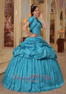 Discount Elegant Teal Quinceanera Dress Sweetheart Taffeta Beading Ball Gown