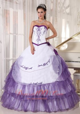 Discount Affordable White and Purple Quinceanera Dress Sweetheart Satin and Organza Embroidery Ball Gown