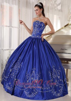 Discount Blue Ball Gown Strapless Floor-length Satin Embroidery Quinceanera Dress
