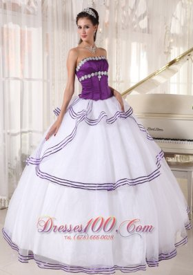 Discount Gorgeous White and Purple Quinceanera Dress Strapless Floor-length Organza Appliques Ball Gown
