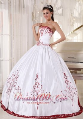 Discount White And Wine Red Ball Gown Strapless Floor-length Satin Embroidery Quinceanera Dress