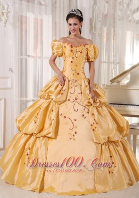 Discount Populor Gold Quinceanera Dress Off The Shoulder Taffeta Embroidery Ball Gown