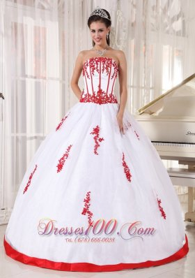 Discount Pretty White Quinceanera Dress Strapless Satin and Organza Appliques Ball Gown