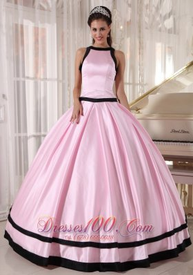 Discount Affordable Baby Pink and Black Quinceanera Dress Bateau Satin Ball Gown