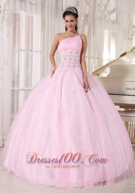 Discount Luxurious Baby Pink Quinceanera Dress One Shoulder Organza Beading Ball Gown