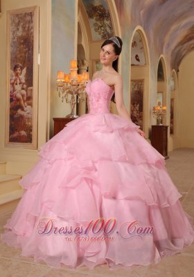 Discount Pretty Pink Quinceanera Dress Sweetheart Organza Beading Ball Gown