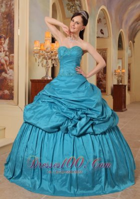 Discount Wonderful Teal Quinceanera Dress Sweetheart Taffeta Beading Ball Gown