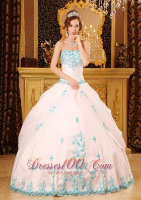 Discount White Ball Gown Sweetheart Floor-length Appliques Taffeta Quinceanera Dress