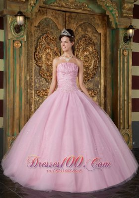 Discount Pink Ball Gown Strapless Floor Length Appliques Tulle Quinceanera Dress