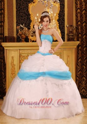 Discount Perfect Ball Gown Strapless Floor-length Appliques Satin and Organza White Quinceanera Dress