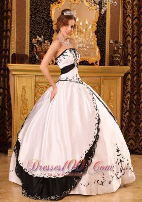Discount Classical Ball Gown Strapless Floor-length Embroidery Satin White Quinceanera Dress