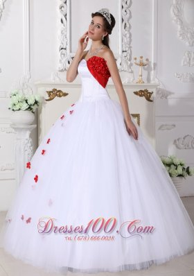 Discount White and Red Ball Gown Sweetheart Floor-length Satin and Tulle Appliques Quinceanera Dress