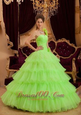 Discount Romantic Spring Green Quinceanera Dress One Shoulder Ruffles A-line / Princess