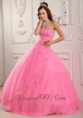Discount Classical Rose Pink Sweet 16 Dress Ball Gown Sweetheart Tulle Appliques