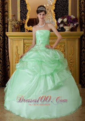 Discount Luxurious Apple Green Sweet 16 Dress Strapless Organza Beading Ruch Ball Gown