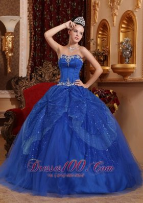 Discount Affordable Blue Quinceanera Dress Sweetheart Tulle Beading and Appliques Ball Gown