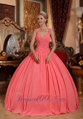 Discount New Watermelon Sweet 16 Dress V-neck Chiffon Beading Ball Gown