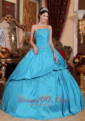 Discount Romantic Teal Quinceanera Dress Strapless Taffeta Beading Ball Gown