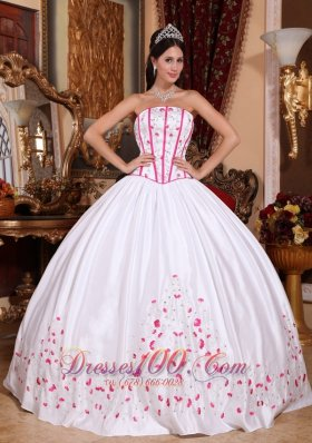 Discount New White Quinceanera Dress Strapless Taffeta Beading and Embroidery Ball Gown