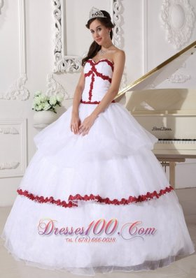 Discount Best White and Wine Red Quinceanera Dress Sweetheart Organza Appliques Ball Gown