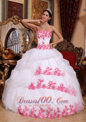 Discount Popular White Quinceanera Dress Sweetheart Organza Appliques Ball Gown