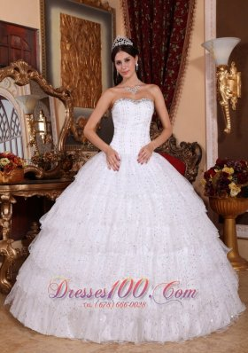Discount Discount White Quinceanera Dress Strapless Taffeta and Tulle Beading Ball Gown