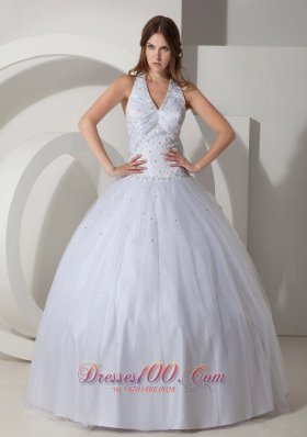 White Ball Gown Halter Floor-length Taffeta Beading Quinceanera Dress