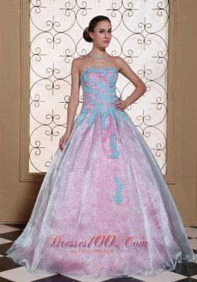 Light Blue Appliques On Organza Strapless Lovely Quinceanera Dress For 2013