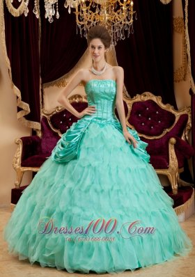 Affordable Apple Green Quinceanera Dress Strapless Ruffles Taffeta and Organza Ball Gown