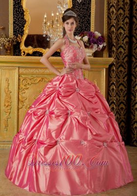 Luxuriously Watermelon Quinceanera Dress Halter Taffeta Appliques Ball Gown