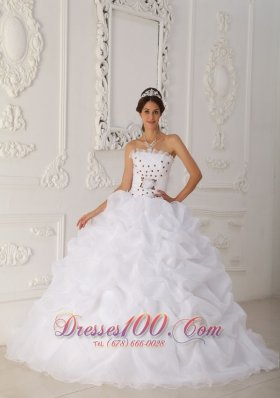 Cheap White Quinceanera Dress Strapless Court Train Organza Beading and Hand Flower Ball Gown