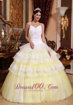 Light Yellow Ball Gown Spaghetti Straps Floor-length Organza Lace Appliques Quinceanera Dress