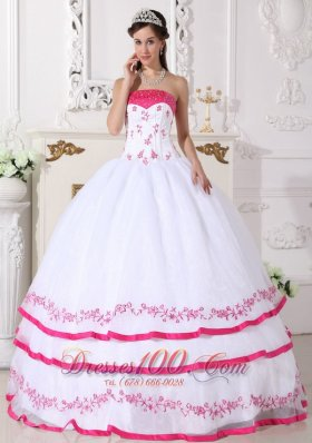 White and Hot Pink Ball Gown Strapless Floor-length Organza Beading and Embroidery
