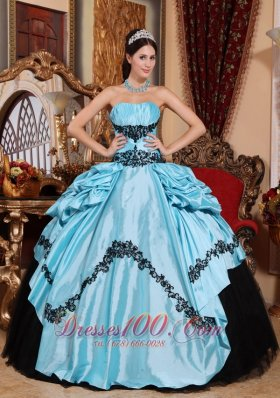 Baby Blue Ball Gown Strapless Floor-length Taffeta Appliques Quinceanera Dress