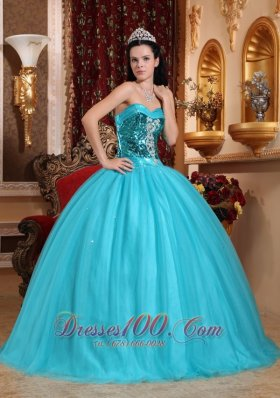 Popular Blue Quinceanera Dress Sweetheart Tulle Beading Ball Gown