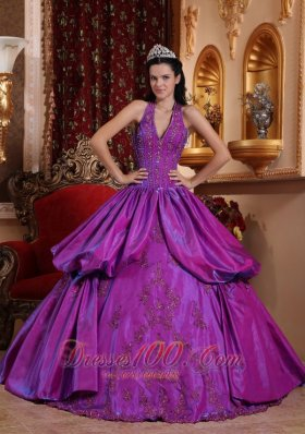 Simple Purple Quinceanera Dress Halter Taffeta Appliques Ball Gown